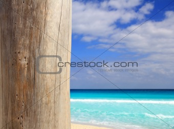 Caribbean tropical beach wood weathered pole
