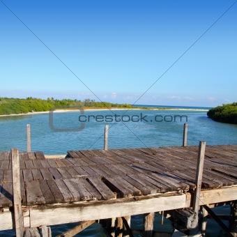aged tropical wood bridge in Sian Kaan Tulum