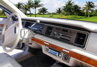 car indoor retro vintage in Caribbean golf course