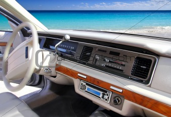 car indoor retro vintage in tropical Caribbean beach