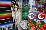 Mexican handcrafts hammock serape and ceramics