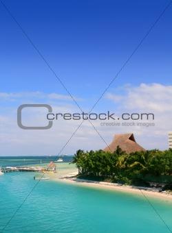Cancun Mexico Lagoon and Caribbean sea