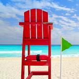 Baywatch red seat green wind flag tropical caribbean