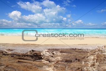 Caribbean tropical beach from weathered limestone