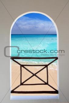 arch window tropical Caribbean beach seen through
