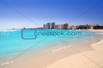 Cancun beach view from turquoise Caribbean