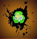 Grunge recycle icon