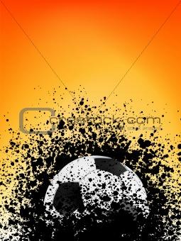 Football grunge poster orange light. EPS 8