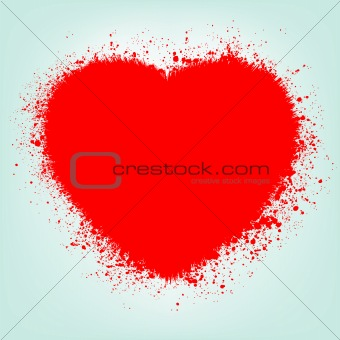 Grunge abstract heart with red splash. EPS 8