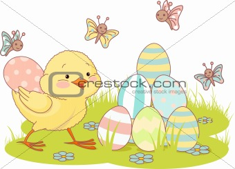 Chick and Easter eggs