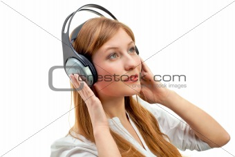 Beautiful women listening music.