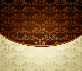 Vintage brown ornament. Vector