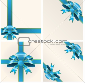 Blue bow with ribbons