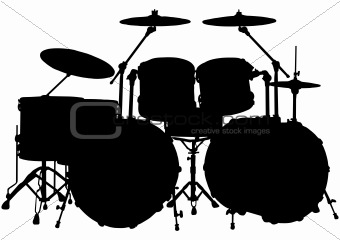 Drum kit silhouette White Drum Set Silhouette