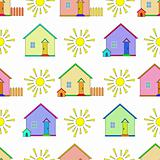 Background, houses and sun