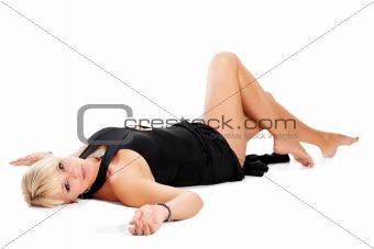 blonde  woman lying on floor
