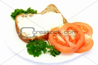 breakfast with bread, tomatoes and parsley