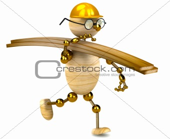 3d wood man carrying lumber