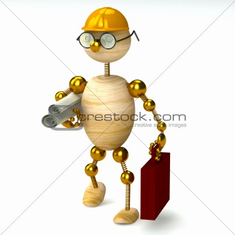 3d wood man engineer