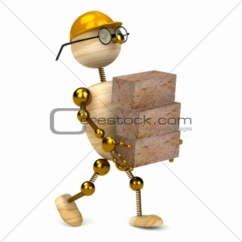 3d wood man carrying bricks