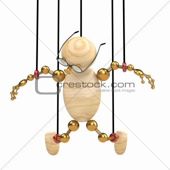 3d wood man suspended on laces