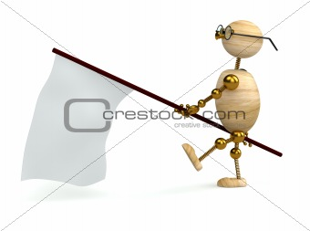 3d wood man is carrying flag