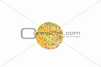 a colorful ball of rubber bands