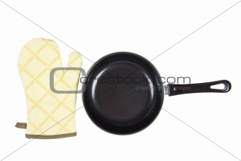 Kitchen glove with pan on a white