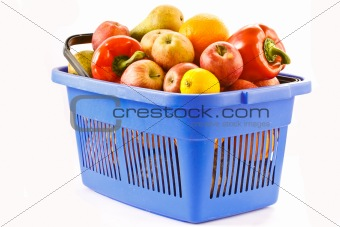 food basket of fruit and vegetables