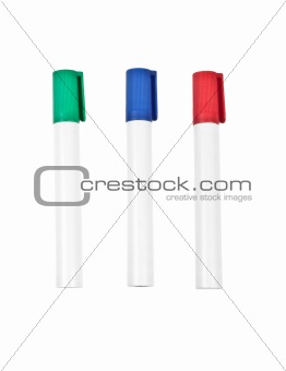 Three highlighter marker pens, isolated on white