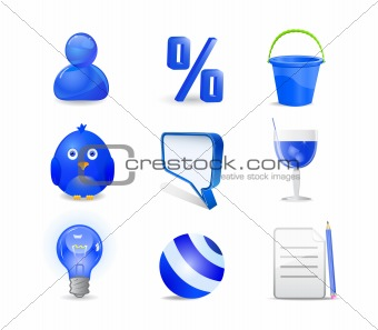 blue icon set - user, percent, bucket, bird, chat, cocktail, bal