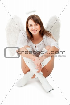 beautiful blonde angel against white background