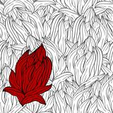 bright red abstract flower on seamless monochrome background