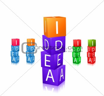 cubes with letters and word idea icon set