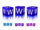 icons of www letters on blue and violet blocks