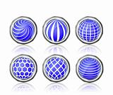abstract blue white round globe icon set