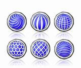 abstract blue white round globe icon set