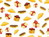 seamless pattern with cake, croissant and eclair