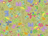 seamless doodle pattern background with flower and butterflies