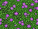 violet flower and green leaf at seamless pattern background