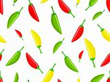 Seamless pattern with red green yellow hot chili peppers