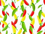 Seamless pattern with variety of hot chili peppers