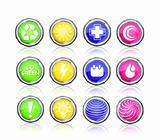 icon set  - go green, sun, first aid, plus, drop