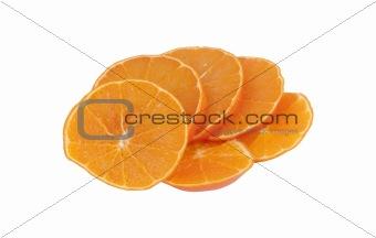 bright fresh ripe sliced orange isolated  food background