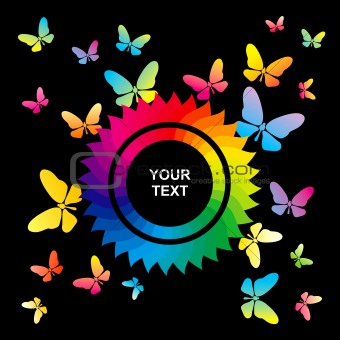 Abstract bright background with butterflies
