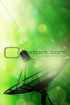 satellite dish antennas and abstract spring green background with light reflect
