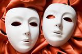 Theatre concept with the white plastic masks