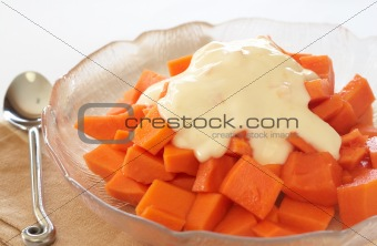 Bowl of summer papaya fruit salad