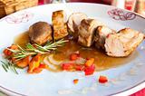 plate of chicken steak