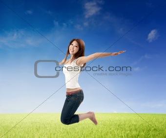 asian girl jumping